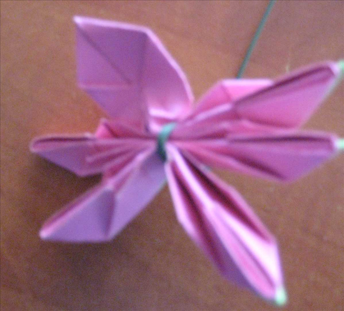 Gently lift one of the pink petals. Starting from the tip gently open and push out on the bottom Repeat for each of the petals.