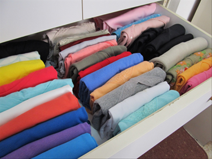 Pull your drawer out all the way. Place them in rows with the folded edge up. Now you can see them all!  Enjoy